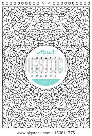 wall calendar 2017 with ornament for coloring, anti stress coloring book, march