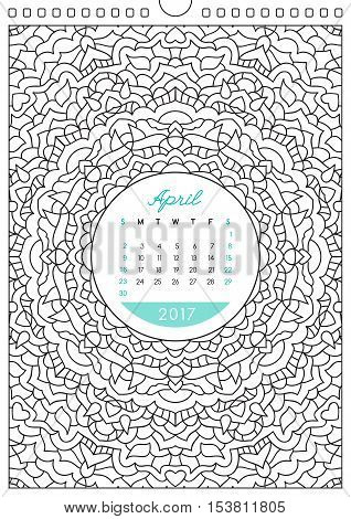 wall calendar 2017 with ornament for coloring, anti stress coloring book, april