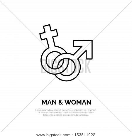Modern vector line icon of male and female. Gender linear logo. Outline sex symbol for stores. Relationship design element for sites shops. Man woman business logotype couple sign.