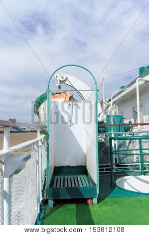 Nizhny Novgorod Russia. - June 2.2016. Shower cabin on the upper deck of the old riverboat