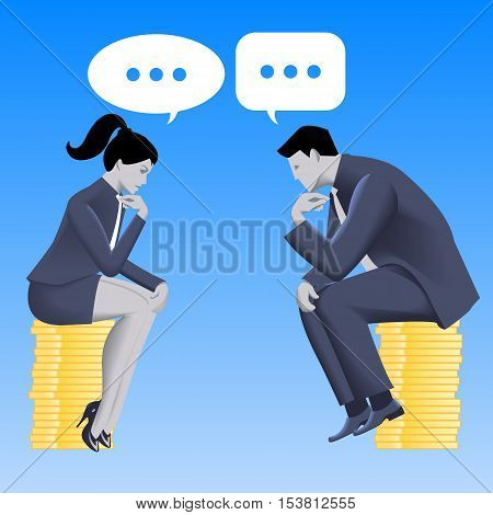 Equal partnership business concept. Pensive businessman and business lady in business suits sit on equal stacks of coins and talking. Equality partnership fair play. Vector illustration.