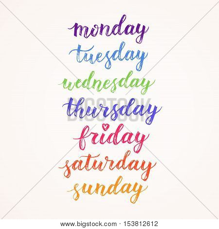 Days of week hand drawn vector lettering. Modern calligraphy. Design element for cards diary schedule. Monday tuesday wednesday thursday friday sunday sunday isolated on white background. poster