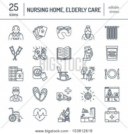 Modern vector line icon of senior and elderly care. Nursing home elements - old people wheelchair leisure hospital call button leisure. Linear pictograms with editable stroke for sites brochure.