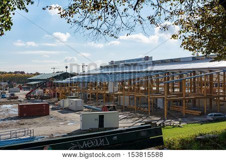 Oktoberfest Behind the Scenes Construction Demolition Daylight Munich Germany October 22 2016 Holiday Festival Theresienwiese