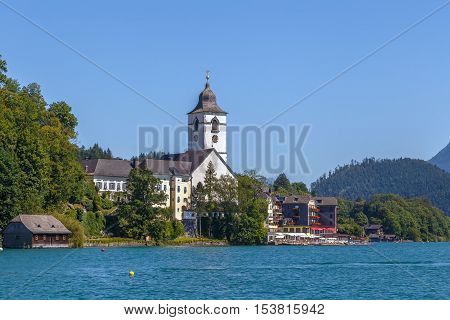 view of st. Wolfgang church from Wolfgangsee Austria