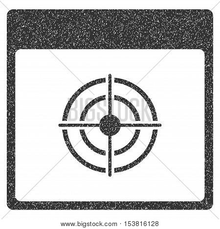 Bullseye Calendar Page grainy textured icon for overlay watermark stamps. Flat symbol with dust texture. Dotted vector gray ink rubber seal stamp with grunge design on a white background.