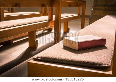 Old Bible Red Book Empty Template Lying Church Pew Bench Woodd Cushion Padded Sun Rays Interior Cath