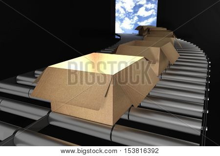 3D Rendering : Illustration Of Perspective View Of Cardboard Boxes On Conveyor Belt Of Steel.box Ope