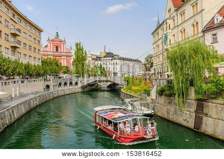Ljubljana, Slovenia - September 10, 2016: the scenic waterfront of Ljubljanica river.