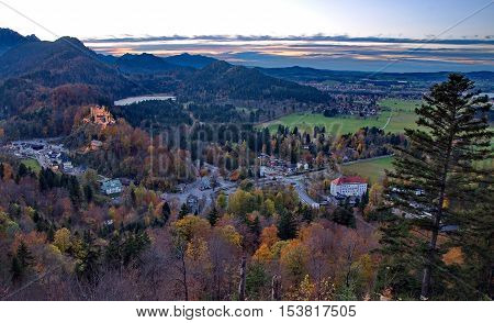 Castle of Hohenschwangau in Germany in an autumn day