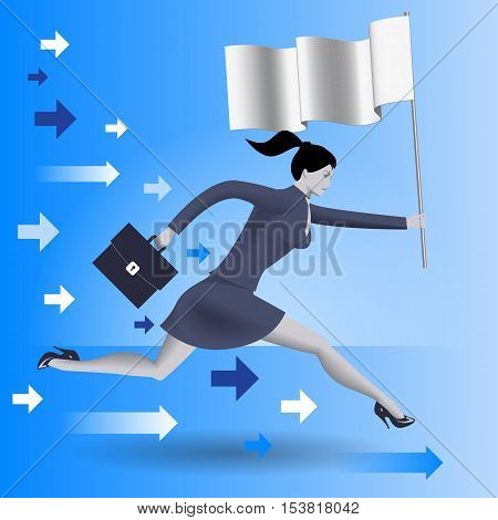 Carrying the flag business concept. Confident business woman in business suit with case in one hand and flag in other runs as fast as can. Leadership concept. Vector illustration