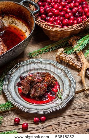 Roast Venison With Cranberry Sauce With Rosemary