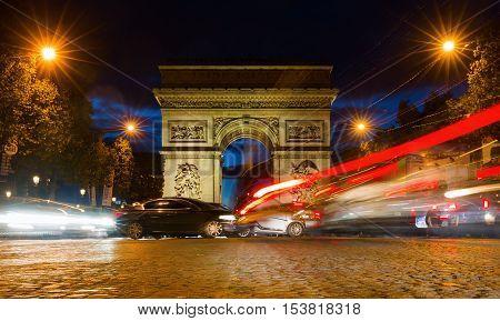 Arc De Triomphe In Paris At Night