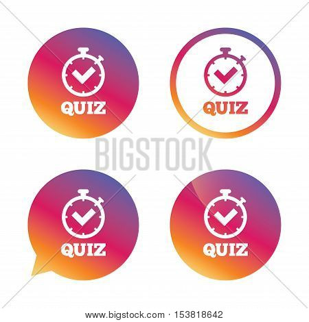 Quiz timer sign icon. Questions and answers game symbol. Gradient buttons with flat icon. Speech bubble sign. Vector