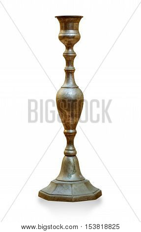 Antique bronze candlestick isolated on white with clipping path