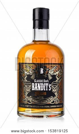 Chisinau Moldova - September 19 2016: Bottle of rum on white Classic Dark Bandits is a brand of rum