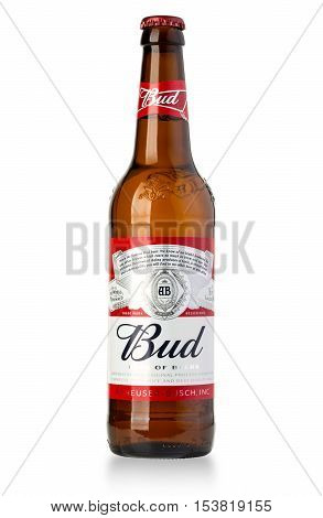 Chisinau Moldova January 26 2016: A single bottle of Budweiser on white. From Anheuser-Busch InBev Budweiser is one of the top selling domestic beers in the United States.