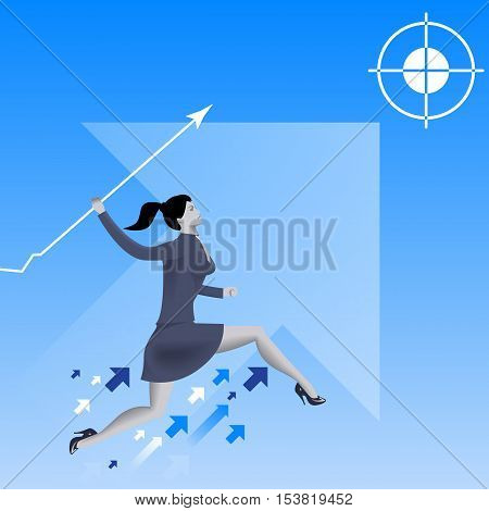 Targeting high business concept. Confident business woman in business suit with graph shaped as spear runs and going to throw it into target above her. Growth success win planning