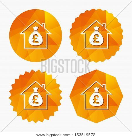 Mortgage sign icon. Real estate symbol. Bank loans. Triangular low poly buttons with flat icon. Vector