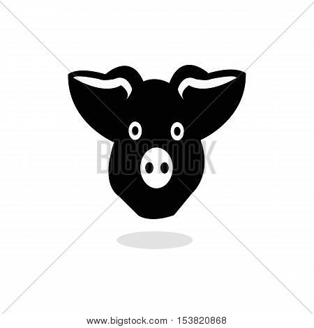 Pig head or face icon. Agriculture and farming concept.
