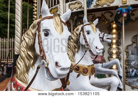 Merry-go-round Figure Closeup Horses
