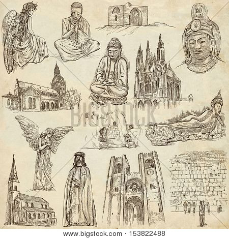 RELIGION around the World. Collection of an full sized hand drawn illustrations. Veneration Worship and Spiritual places. Drawing on old paper.