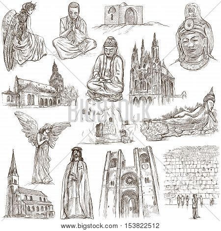 RELIGION around the World. Collection of an full sized hand drawn illustrations. Veneration Worship and Spiritual places. Drawing on white.
