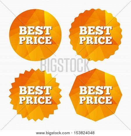Best price sign icon. Special offer symbol. Triangular low poly buttons with flat icon. Vector