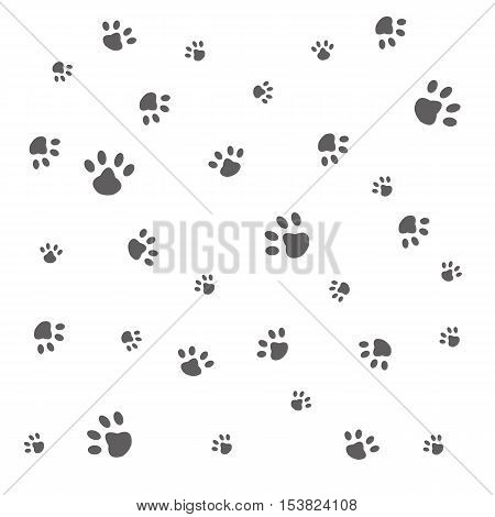 Vector seamless background with animal paws,animal traces on a white background