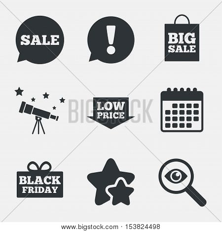 Sale speech bubble icon. Black friday gift box symbol. Big sale shopping bag. Low price arrow sign. Attention, investigate and stars icons. Telescope and calendar signs. Vector