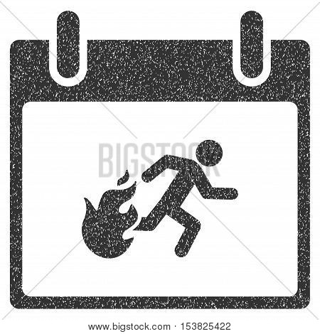 Fire Evacuation Man Calendar Day grainy textured icon for overlay watermark stamps. Flat symbol with dirty texture. Dotted vector gray ink rubber seal stamp with grunge design on a white background.