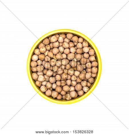 Kitchen cereal pease in bowl on white background