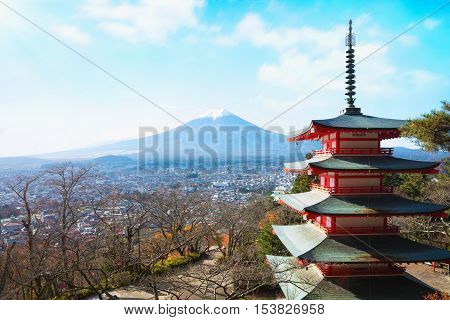 Mt. Fuji with red pagoda in autumn Fujiyoshida Japan