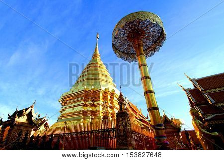 Golden stupa at Wat Phra That Doi Suthep tourist attraction and popular historical temple of Chiang Mai Thailand.