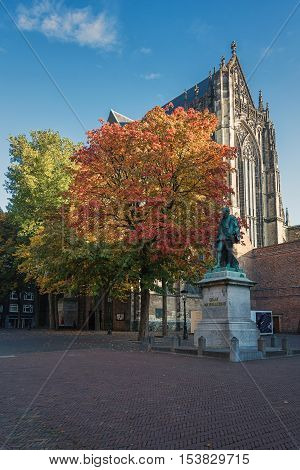 Utrecht Netherlands - October 23 2016: The back of the Dom Church with in front a statute of Jan van Nassau.
