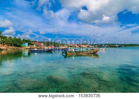 Corn Island Nicaragua - April 21 2016: view of corn island Nicaragua. sea with boats and blue sky