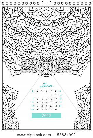 wall calendar 2017 with ornament for coloring, anti stress coloring book, june