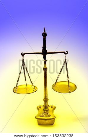 Golden Weight Scale, Also  Laboratory Balance, Balance Scale, Or Beam Balance