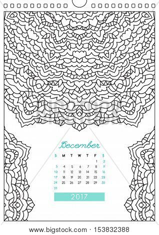wall calendar 2017 with ornament for coloring, anti stress coloring book, december