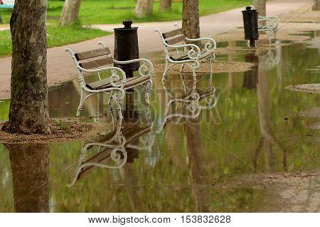 Rainy summer - gloomy days at a holiday resort