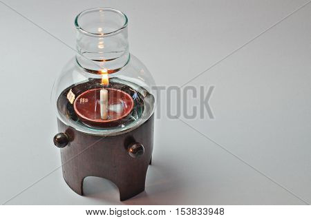 Glass lamps with bamboo branch, brown, candleon Whitebackground
