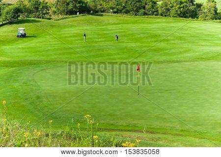 Golf Golfers Green Flagstick