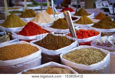 Variety of spices at Anjuna flea market in Goa, India