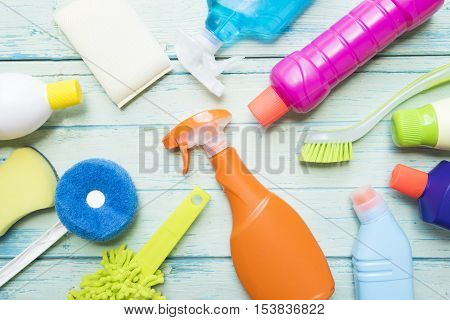 House cleaning product on wood table, top view