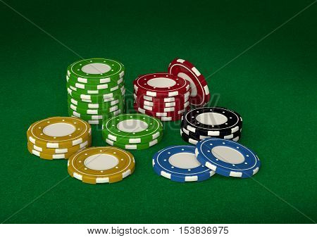 Gambling chips 3D on casino green velvet pool
