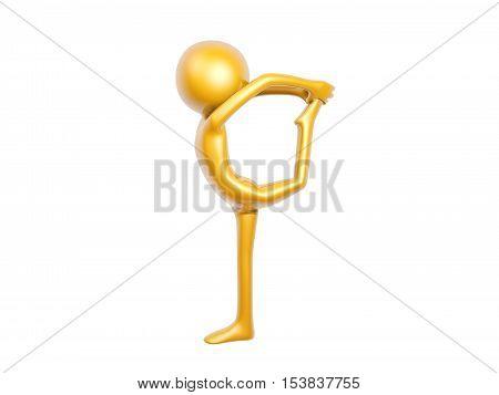 golden guy doing gymnastics training isolated on white background 3d illustration