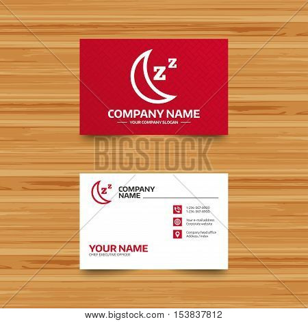Business card template. Sleep sign icon. Moon with zzz button. Standby. Phone, globe and pointer icons. Visiting card design. Vector