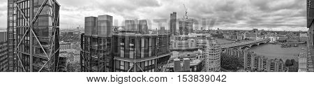 London UK - July 2016: The view of London's skyline from the The Switch House at the Tate Modern.