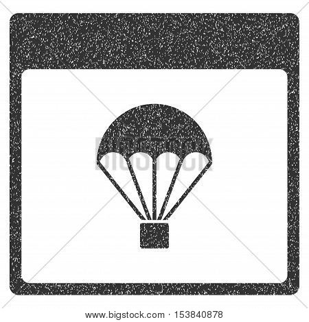 Parachute Calendar Page grainy textured icon for overlay watermark stamps. Flat symbol with dirty texture. Dotted vector gray ink rubber seal stamp with grunge design on a white background.