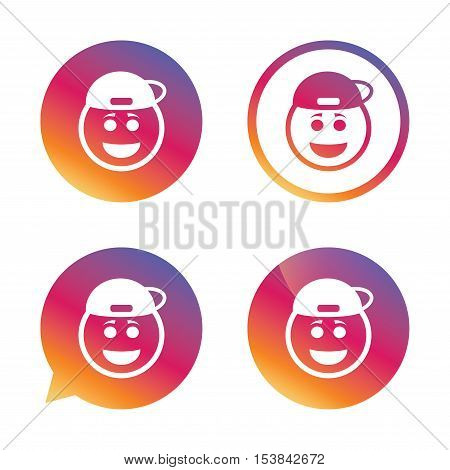 Smile rapper face sign icon. Happy smiley with hairstyle chat symbol. Gradient buttons with flat icon. Speech bubble sign. Vector